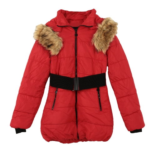 Nueva moda mujer alagodón con capucha chaqueta de piel chaqueta Cotton-Padded Parka Abrigo Abrigos Coat