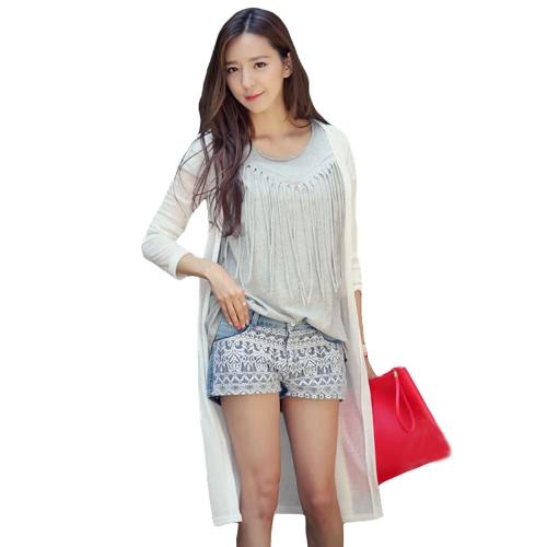 New Fashion Women Knitted Cardigan Rhinestone Angel Wings Long Sleeve Thin Long Coat Outerwear Black/White