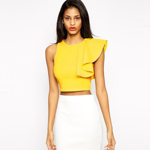 Mujeres sexy Top un hombro volantes ronda cuello sin mangas Fitness Tank Top camiseta negro/amarillo de los cultivos