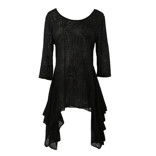 Nueva moda mujer camiseta ocasional quema diseño O cuello tres cuartos manga asimétrico dobladillo suelto superior negro
