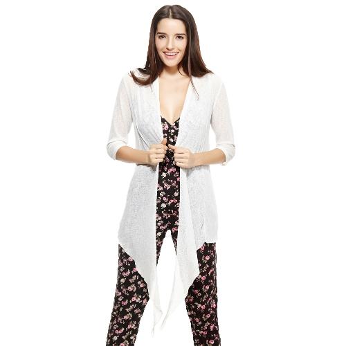 Nuevo frente abierto moda mujer del Kimono cubra tres cuartos manga suelta sólida Tops Casual blanco