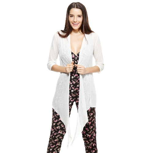 Neue Mode Frauen Kimono vorne offen drapieren drei Viertel Ärmel lose solide lässig Tops weiß