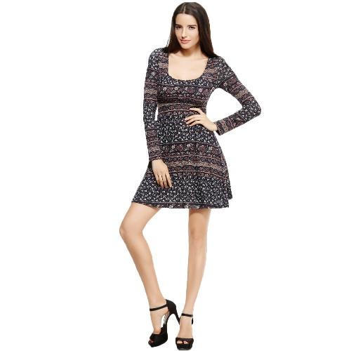 Nueva moda mujer vestido Floral impresión cuello redondo manga larga corbata cintura fiesta Bodycon vestido negro