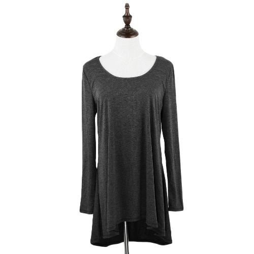 Moda mujer larga camiseta redonda cuello manga larga cinta atrás asimétrico dobladillo suelto superior gris/gris claro