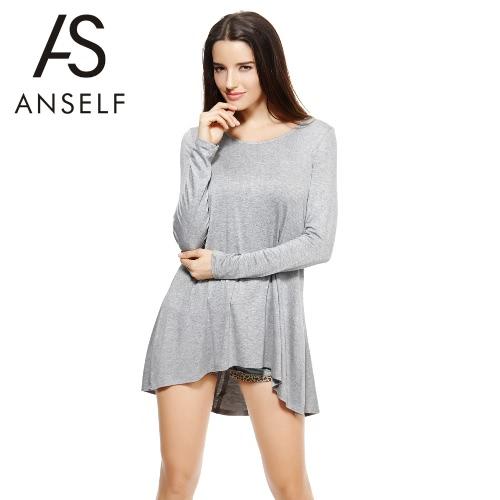 Moda damska Długi T-shirt z długim rękawem wokół szyi Ribbon Powrót Asymmetric Hem Loose Top Grey / Light Grey
