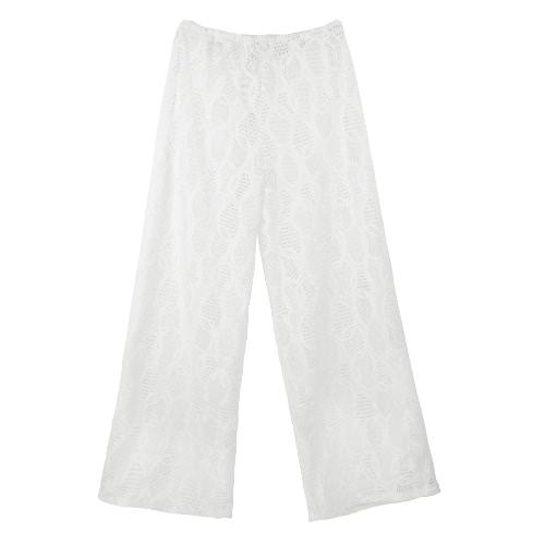 Nuevo Sexy mujer playa pantalones hueco a lazo cintura pierna ancha bohemio Casual pantalones sueltos negro