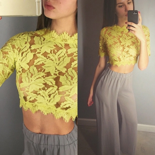 Sexy Women Eyelash Lace Short Crop Top