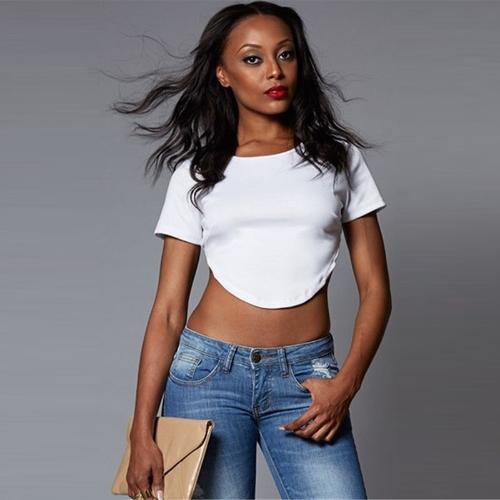Nuevo Sexy mujer cosecha superior abierta O sin espalda cuello borde Irregular de manga corta camiseta camiseta ocasional