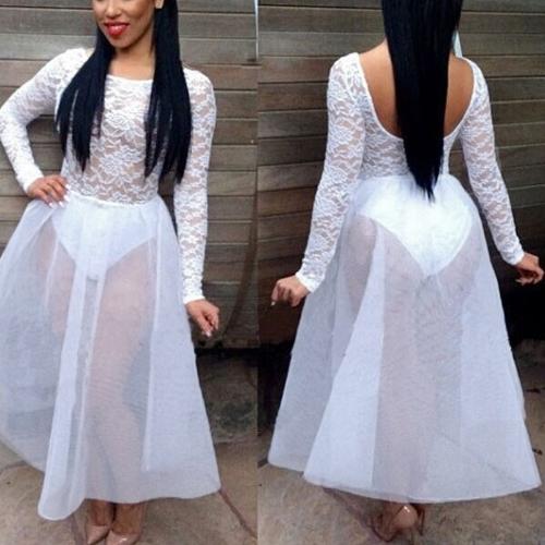 Mujeres sexy vestido encaje pura malla Patchwork elástico cintura espalda abierta O cuello vestido de fiesta blanco/negro