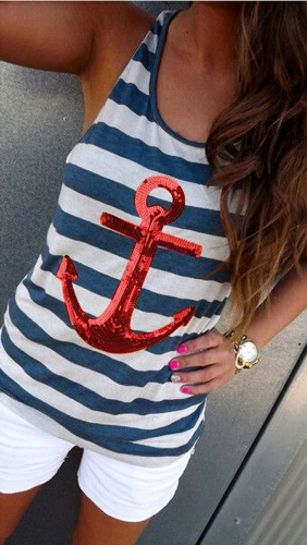 New Fashion Women Tank Top Sequin Anchor Striped Pattern Sleeveless Vest Blouse Casual T-Shirt