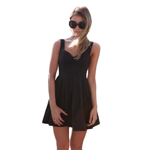 7640f6197 Nueva mujer Sexy Mini vestido sin espalda corte V cuello sin mangas vestido  de noche coctel