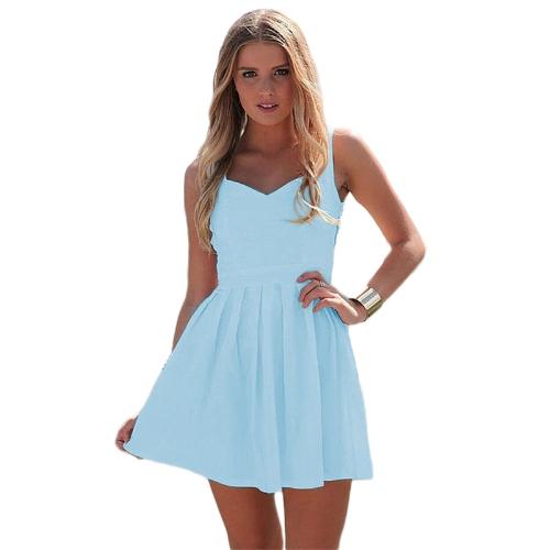 Nueva mujer Sexy Mini vestido sin espalda corte V cuello sin mangas vestido de noche coctel fiesta negro/blanco/azul