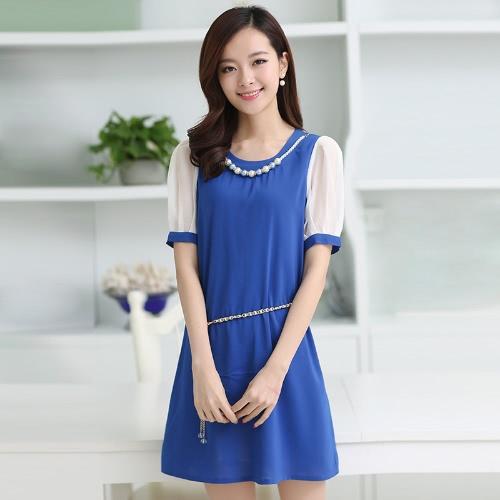 Moda coreana mulheres senhora vestido doce cor contraste manga curta forro Mini vestido