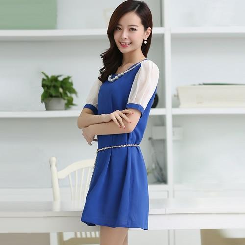 Korean Fashion Women Lady Dress Candy Color Contrast Short Sleeve Lining Mini Dress G1314BL-XXL
