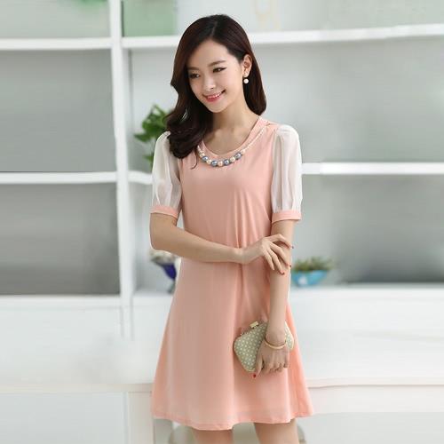 Moda coreano las mujeres dama vestido caramelo Color contraste manga corta Mini vestido de la guarnición