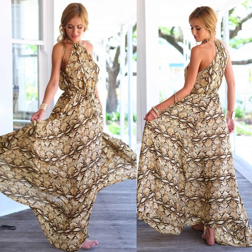 L'Europe Fashion femmes en mousseline de soie robe serpent imprimer Split haute Spagetti bretelles robe Maxi Brown