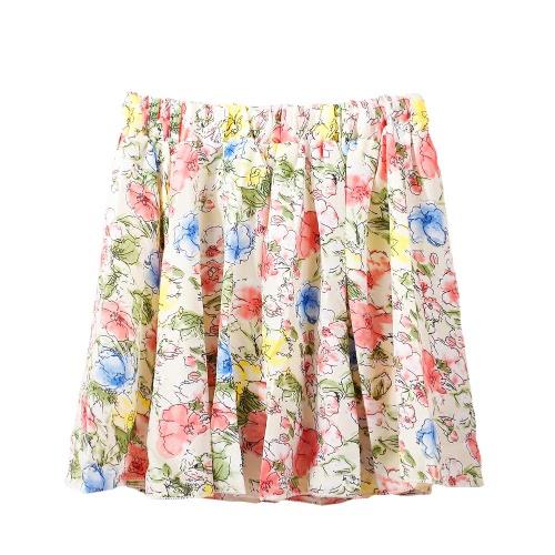 Nowe kobiety mody Krótka spódnica Floral drukowane wzory Elastyczna talia Miękka podszewka spódnica plisowana czarna / zielona