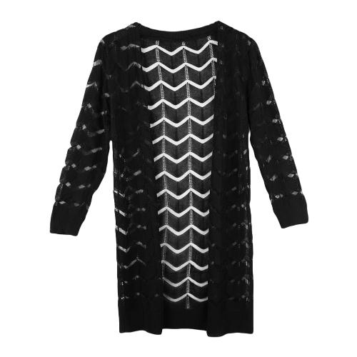 Fashion Women Crochet Cardigan Open Front Gauze Patchwork Wave-Shaped Design 3/4 Sleeve Sunscreen Shirt