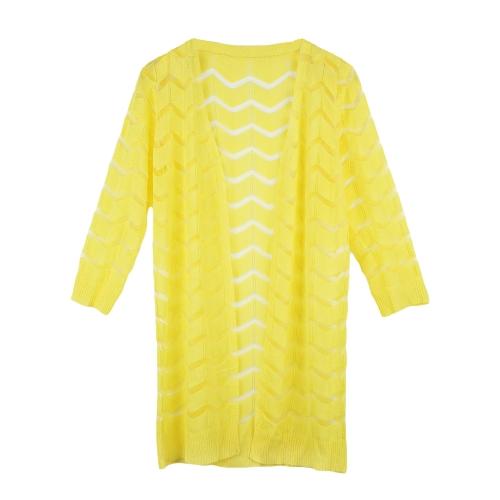 Las mujeres de moda Crochet Cardigan abierto gasa frente Patchwork diseño en forma de onda manga 3/4 bloqueador solar camisa