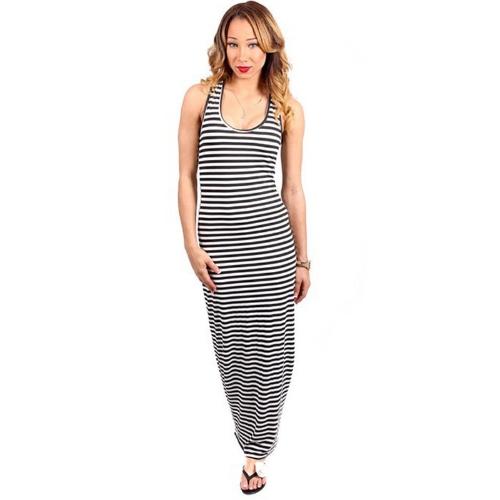 Nueva moda mujer Maxi vestido escote redondo sin mangas Casual playa vestido largo negro a rayas