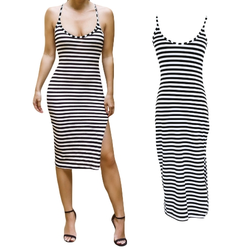 64440b1597 Fashion Women Midi Dress Stripe Pattern Spaghetti Strap Open Back Side  Split Bodycon Dress Black