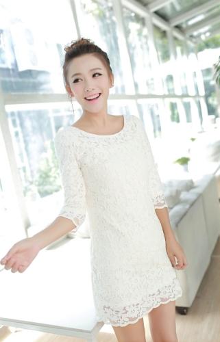 Nueva moda mujer vestido bordado de flores O cuello tres Quater manga amarillo/rosa/blanco una pieza elegante