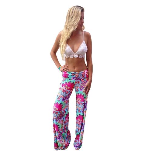 Mode Frauen Vintage Hose Floral Drucken elastische Taille Breite Bein lose Hose Rose