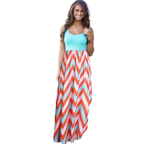 Mode Frauen Sommer Patchwork Kleid wellenförmigen Streifen Rundkragen ärmellos elastische Taille Maxi langes Kleid