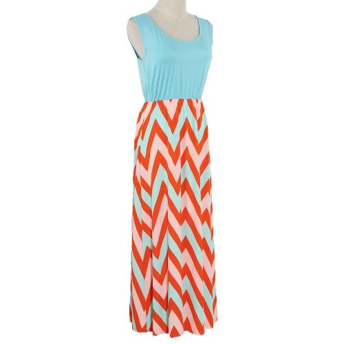 Moda donna estate Patchwork abito bande ondulate girocollo senza maniche con elastico Maxi abito lungo