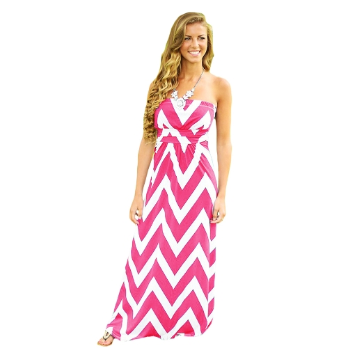 Sexy Kobiety Tube Sukienka w paski bez rękawów wieczór przyjęcia balu togi koktajlu Maxi Dress Różowy / Niebieski