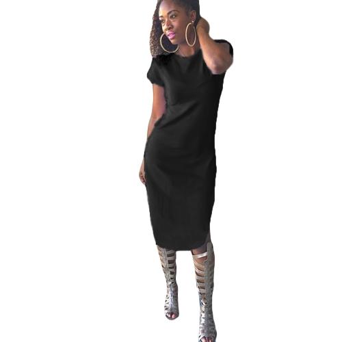 Sexy mujer Midi vestido redondo escote manga corta lado fractura Irregular dobladillo Vestido de fiesta Clubwear negro/blanco/verde