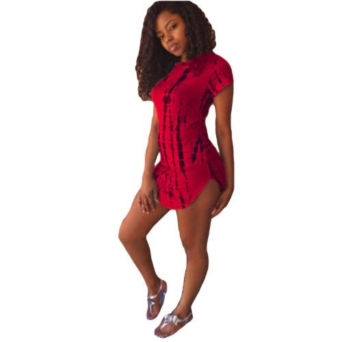Nueva moda mujer vestido contraste impresión curvo dobladillo manga corta Slim Fit camiseta Casual Vestido