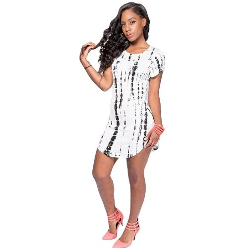 Nueva moda mujer vestido contraste dobladillo curvo impresión manga corta Slim Fit camiseta Casual Vestido