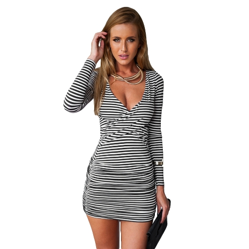 New Fashion Women Striped Dress Deep V Neck Wrap Long Sleeve Ruched Sides Sexy Bodycon Mini Dress Black