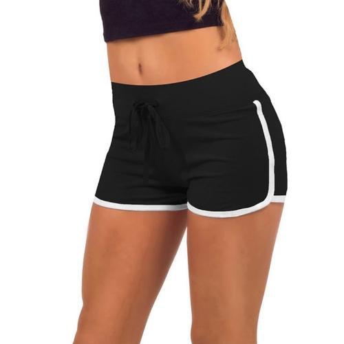Moda mujer deportes cortos contraste enlace lateral fractura elástico en la cintura Yoga Shorts