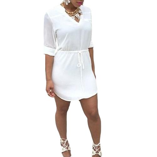 Nueva moda tafetán V cuello lazo cintura dobladillo asimétrico Casual Mini vestido blanco