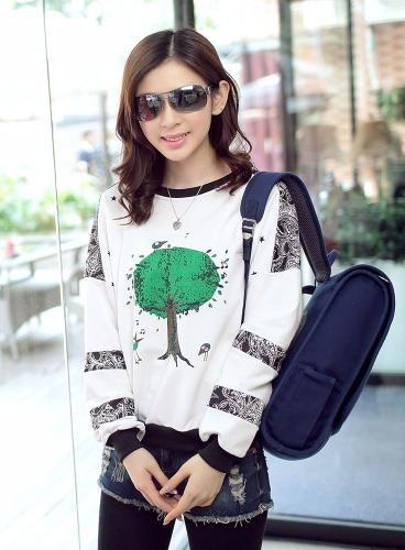 Nueva moda Wemen camiseta pájaros árbol impresión O cuello manga larga suelta ajuste Tops Casual blanco