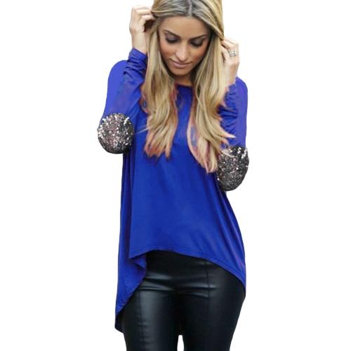 Nueva moda mujer camiseta Patchwork codo redondo tapa ocasional del dobladillo asimétrico de manga larga cuello