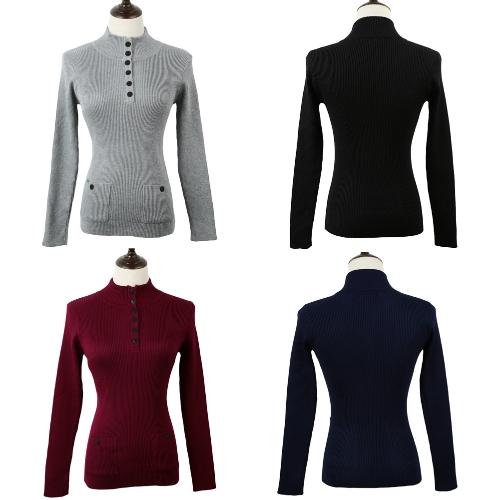 Nueva moda mujer suéter Stand cuello botones manga larga sólida Bodycon Fit Casual punto