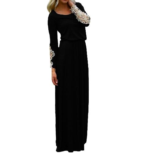 Moda mujer vestido Crochet encaje Patchwork redondo cuello mangas largas cintura elástico vestido Casual negro