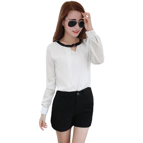 Moda mujer camisa correa cuello manga larga cerradura botón blusa Casual Formal Tops blanco