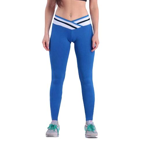 Moda donna Stretch Leggings contrasto colore con elastico palestra Sport pantaloni pantaloni di esecuzione