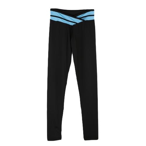 ファッションの女性ストレッチ レギンス コントラスト色伸縮性ウエスト ジム スポーツ ランニング パンツ用ズボン