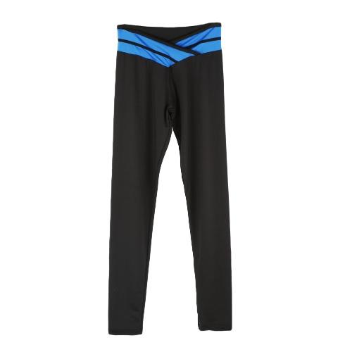 Moda mujer polainas contraste Color elástico cintura Gym deporte corriendo pantalones pantalones del estiramiento