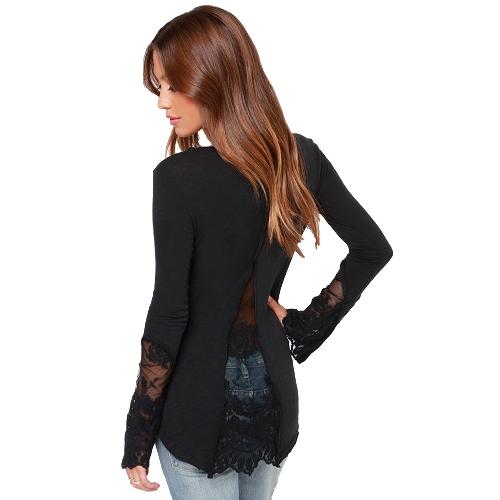 TOMTOP / Mulheres casuais blusa costura laço malha t-shirt manga longa camisa Slim lazer Top preto de emenda