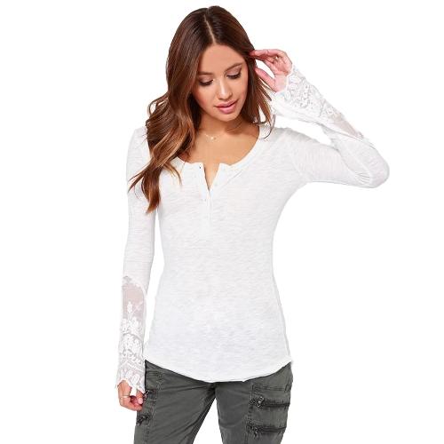 Mujer casual blusa costura malla de encaje t-shirt manga larga camisa Slim ocio blanco superior de empalme