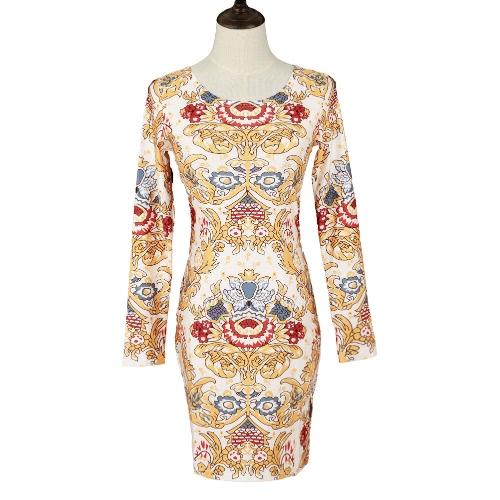 Nueva moda mujeres vendaje vestido Floral impresión de manga larga O cuello Celebrity fiesta Bodycon vestido amarillo