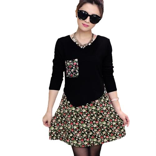 Moda mulheres Jersey vestido Floral Pullover impressão falsa duas peças manga longa rodada pescoço vestido de malha elástica
