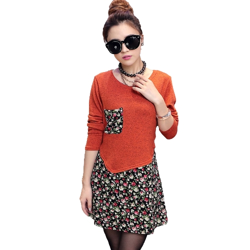 Fashion Women Jersey Dress Floral Print Pullover Fake Two Piece Long Sleeve Round Neck Stretchy Knit Dress
