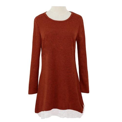 Nueva dulce tapas las mujeres Mini vestido encaje dobladillo elástico Jersey camisa larga Swing vestido Casual